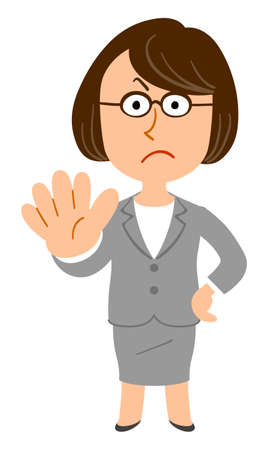 A business woman with glasses stops _ whole body