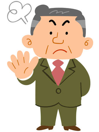 Middle-aged man in a suit showing a refusal gesture_whole body Ilustrace