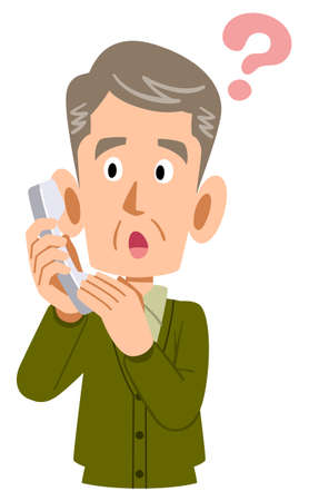 Senior man with doubts about answering the phone