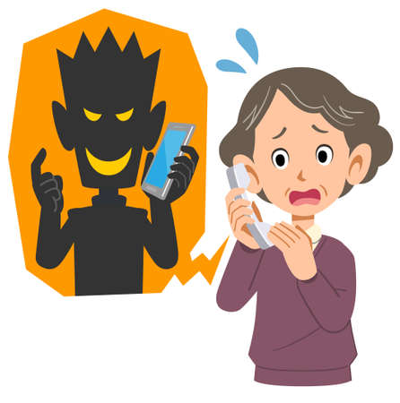 Senior woman rushing to nuisance call 向量圖像