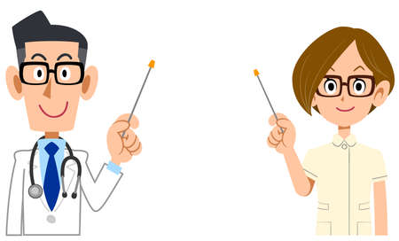 a Male doctor and female nurse explaining with a pointer