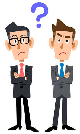 Two businessmen with doubts
