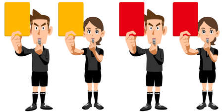A set of a soccer referee man and a woman showing a red card and a yellow card