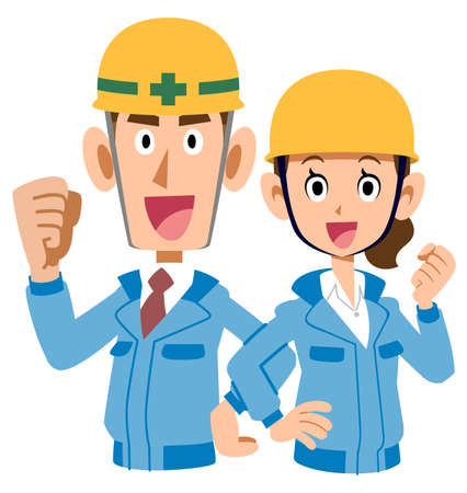 Upper body of men and women wearing blue work clothes and helmets that guts pose back to back