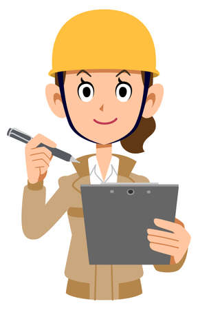 Female construction worker with clipboard and pen