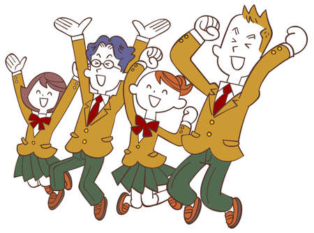 Male and female students in a beige blazer happily jumping to the left Vecteurs