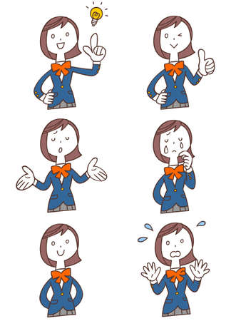 6 types of gestures and facial expressions of female students in blue blazer uniforms Upper body