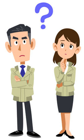 Whole body of man and woman wearing work clothes with doubts Ilustracje wektorowe
