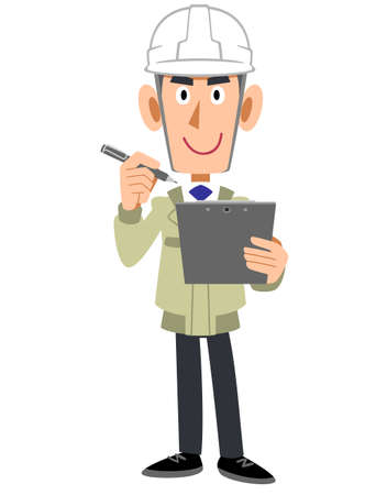 Construction site construction man with clipboard and pen