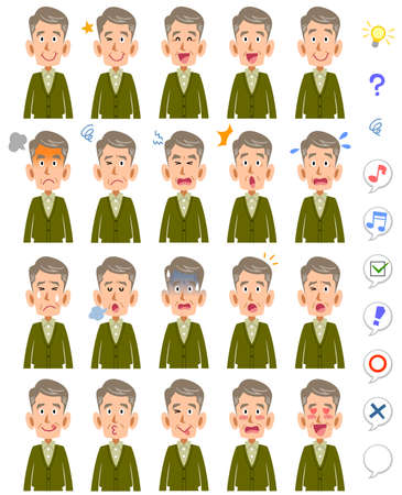 20 different facial expressions and upper body of senior men
