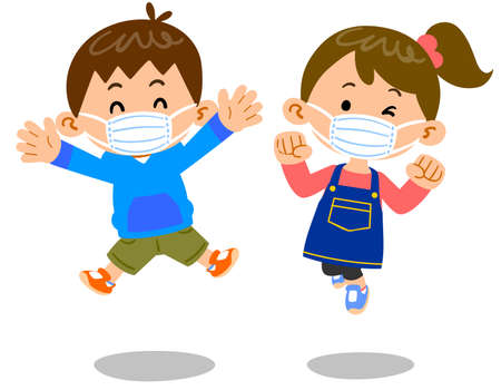 Male and female children jumping with masks