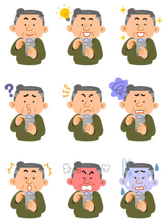 Nine different facial expressions of middle-aged men in everyday clothes who operate smartphones