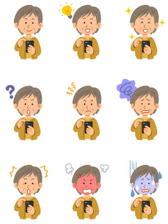 Nine different facial expressions of a senior woman wearing a yellow cardigan operating a smartphone