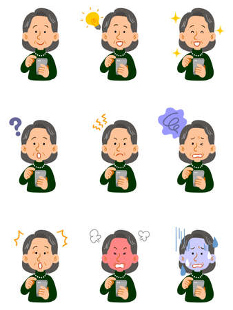 Nine facial expressions of a senior woman in a green sweater operating a smartphone