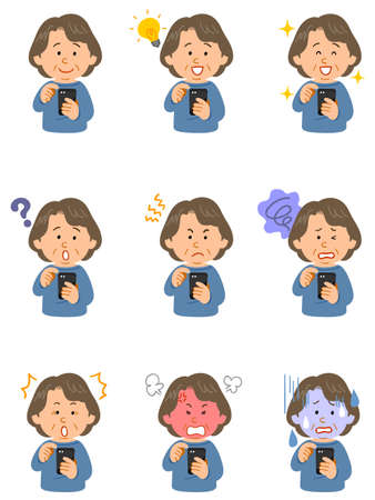 Nine different facial expressions of a senior woman wearing a blue cut-and-sew that operates a smartphone