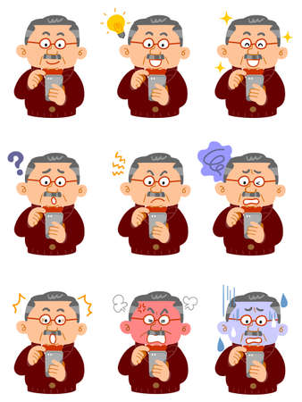 Nine different facial expressions of a wealthy middle-aged man in everyday wear who operates a smartphone
