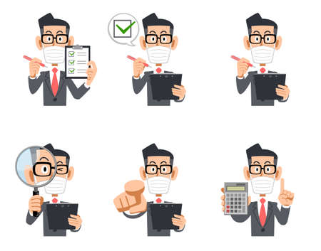 Illustration set of upper body businessman wearing mask and glasses with checklist and magnifying glass