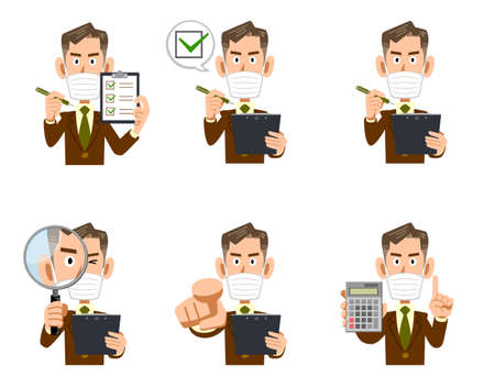 Illustration set of the upper body of an elderly businessman wearing a mask with a checklist and magnifying glass Ilustracja