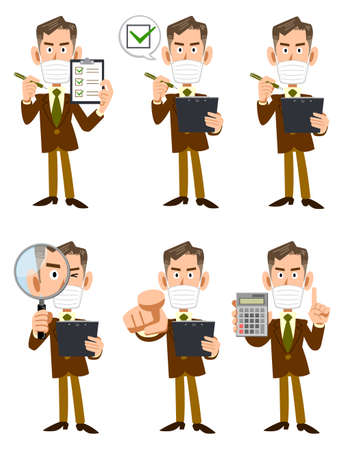 Illustration set of an elderly businessman wearing a mask with a checklist and magnifying glass Ilustracja