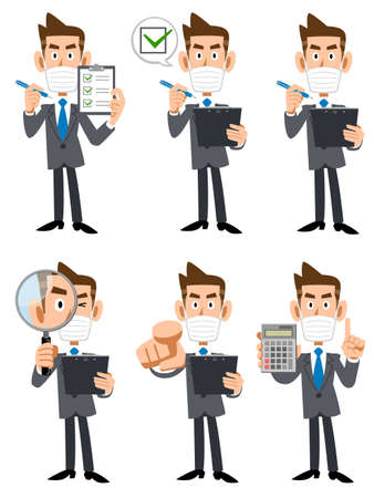 Illustration set of a businessman wearing a mask with a checklist and magnifying glass