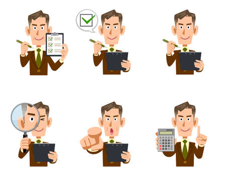 Illustration set of the upper body of an elderly businessman with a checklist and magnifying glass Ilustracja
