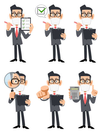 Illustration set of a businessman wearing a mask and glasses with a checklist and magnifying glass
