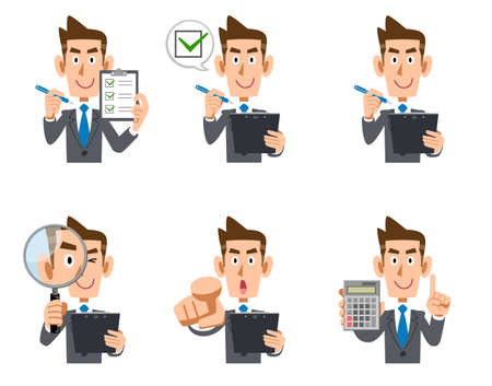 Illustration set of the upper body of a businessman with a checklist and magnifying glass
