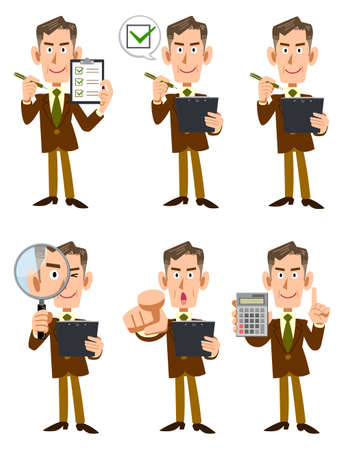 Illustration set of elderly businessmen with checklists and magnifying glass