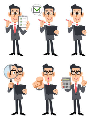 Illustration set of a businessman wearing glasses with a checklist and magnifying glass