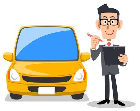 A man in a suit filling out a form and a car  イラスト・ベクター素材