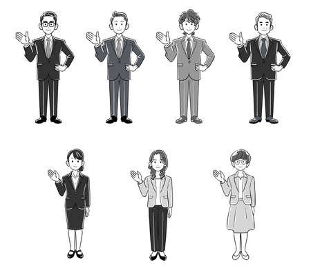 Full-body illustration set of businessmen and businesswomen guided by the palm of hand