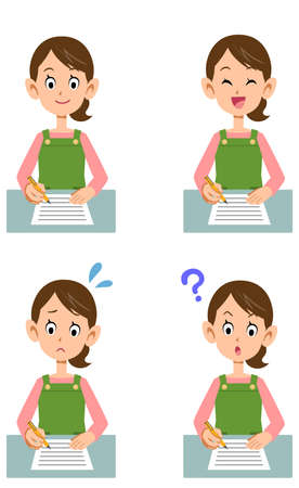 Various facial expressions of housewives filling out documents