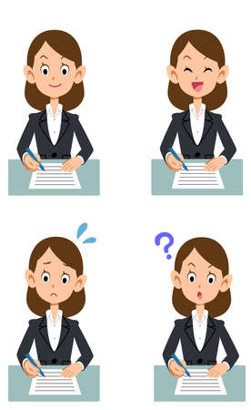 Four facial expressions of a woman in a suit to fill out a document