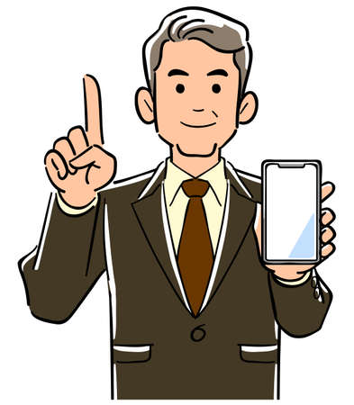 A manager in a suit holding a smartphone and raising his index finger
