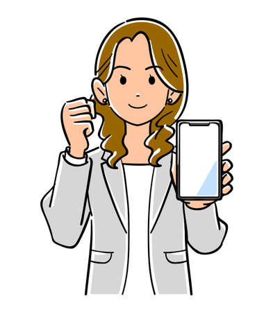 A woman in a suit holding a smartphone and making a guts pose