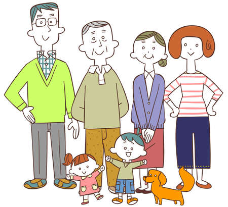 Happy three-generation family centered on seniors