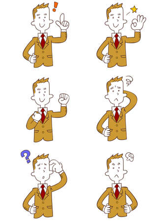 Upper body of a male student wearing a beige blazer 6 types of gestures and poses Ilustração
