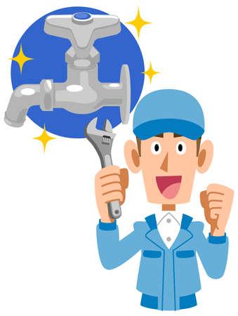 Illustration of the upper body of a water repair company Ilustração