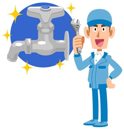 Full-body illustration of a water repair company Ilustração