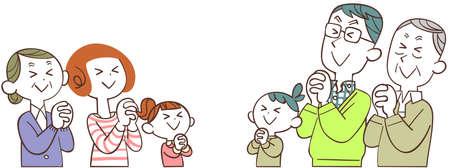 A three-generation family praying with their eyes closed Ilustração