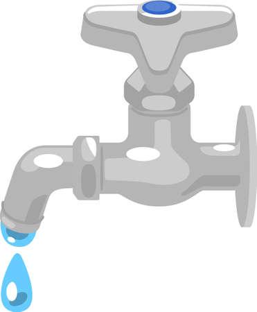 Illustration of a leaking tap Ilustração