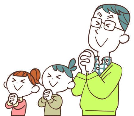 Father and children praying with their eyes closed