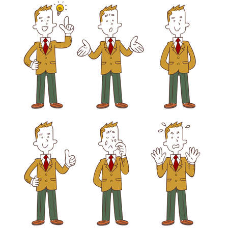 Whole body of a male student wearing a beige blazer 6 types of gestures and poses