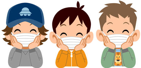 Three boys who put on a mask, and rest their cheek on their hand with a smile Ilustração