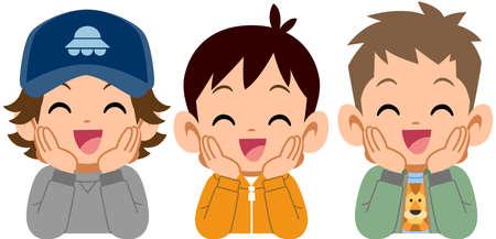 Three boys who rest their cheek on their hand