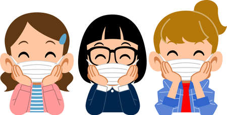 Three girls who put on a mask, and rest their cheek on their hand with a smile