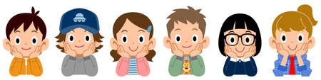 The children who rest their cheek on their hand Ilustração