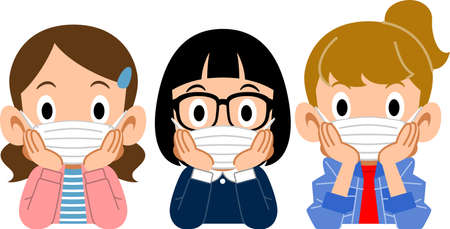 Three girls who put on a mask, and rest their cheek on their hand
