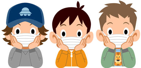 Three boys who put on a mask, and rest their cheek on their hand
