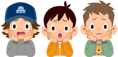 Three boys who rest their cheek on their hand with a dissatisfaction face